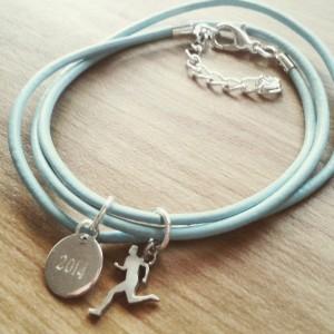 Silver run charm bracelet